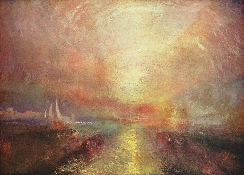 (Right) Joseph Mallord William Turner, Yacht approaching the Coast, 1835-40.